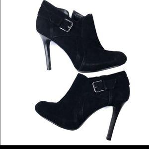 Alfani black suede paola heeled booties